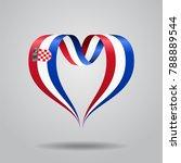 croatian flag heart shaped wavy ... | Shutterstock . vector #788889544