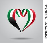 kuwaiti flag heart shaped wavy... | Shutterstock . vector #788889568