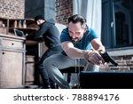 holding a pistol. scared panic...   Shutterstock . vector #788894176
