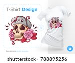 skull in hat on roses. prints... | Shutterstock .eps vector #788895256
