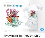 stylish frog with bird on head. ...   Shutterstock .eps vector #788895259