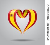 spanish flag heart shaped wavy...   Shutterstock . vector #788898670