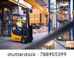 young warehouse workers working ... | Shutterstock . vector #788905399