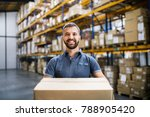 male warehouse worker with a... | Shutterstock . vector #788905420