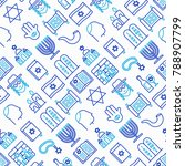 judaism seamless pattern with... | Shutterstock .eps vector #788907799