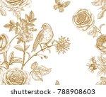 garden flowers roses  peonies... | Shutterstock .eps vector #788908603