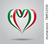 mexican flag heart shaped wavy... | Shutterstock . vector #788912530