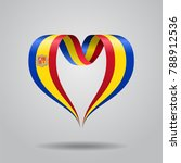 andorran flag heart shaped wavy ... | Shutterstock . vector #788912536