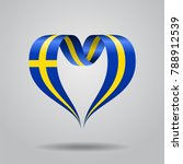 swedish flag heart shaped wavy... | Shutterstock . vector #788912539