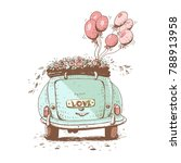 wedding car   vector ... | Shutterstock .eps vector #788913958