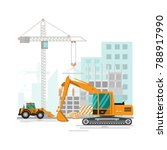 building site work process... | Shutterstock .eps vector #788917990