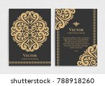 gold vintage greeting card on a ... | Shutterstock .eps vector #788918260