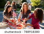 girls helping themselves to... | Shutterstock . vector #788918380