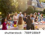 neighbours talk and eat around... | Shutterstock . vector #788918869