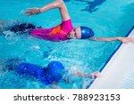 swimming lesson. cute little... | Shutterstock . vector #788923153