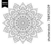 monochrome ethnic mandala... | Shutterstock . vector #788925109