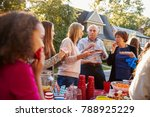 neighbours talk and eat at a... | Shutterstock . vector #788925229