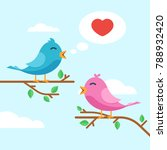 cute couple lovers birds cooing ... | Shutterstock .eps vector #788932420