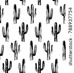 black and white cactus. sketch... | Shutterstock . vector #788937754