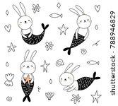 Stock vector vector set with cute bunnies mermaids 788946829