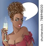 pin up style sexy afro woman... | Shutterstock .eps vector #788948020