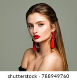 pretty young model with makeup  ... | Shutterstock . vector #788949760