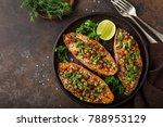 sweet potato stuffed with... | Shutterstock . vector #788953129