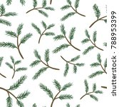 pine branches seamless pattern | Shutterstock .eps vector #788953399