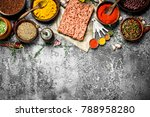 minced beef with spices ... | Shutterstock . vector #788958280