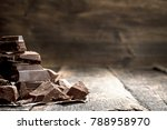 pieces of dark chocolate. on a... | Shutterstock . vector #788958970