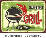 grill appliance with red fire... | Shutterstock .eps vector #788968960
