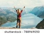 happy traveler woman emotional... | Shutterstock . vector #788969050