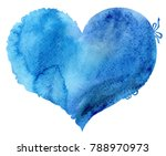 Watercolor Blue Heart With...