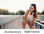 portrait of woman taking break... | Shutterstock . vector #788976454