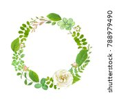 greenery wreath with green... | Shutterstock .eps vector #788979490