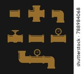 pipe fittings vector icons set. ... | Shutterstock .eps vector #788984068
