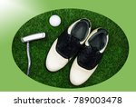 golf shoe with putter and golf... | Shutterstock . vector #789003478
