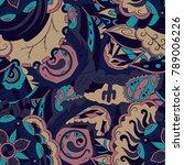 seamless mehndi vector pattern. ... | Shutterstock .eps vector #789006226