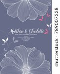 cute wedding invitation with... | Shutterstock .eps vector #789007228