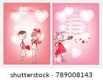 two postcards for valentine's... | Shutterstock .eps vector #789008143