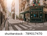 cozy street with tables of... | Shutterstock . vector #789017470