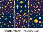 space seamless pattern set... | Shutterstock .eps vector #789029260