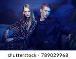 young fashion couple sitting on ... | Shutterstock . vector #789029968