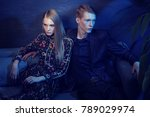 young fashion couple sitting on ... | Shutterstock . vector #789029974