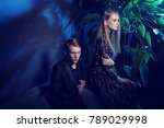 young fashion couple sitting on ... | Shutterstock . vector #789029998