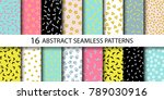 set of vector abstract seamless ... | Shutterstock .eps vector #789030916