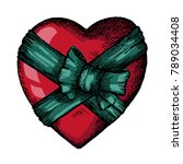 vector hand drawn heart wrapped ... | Shutterstock .eps vector #789034408