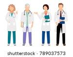 people in white coats...   Shutterstock . vector #789037573
