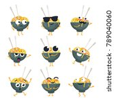 funny wok plate   vector... | Shutterstock .eps vector #789040060