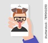 funny mobile app. dog muzzle...   Shutterstock .eps vector #789041050